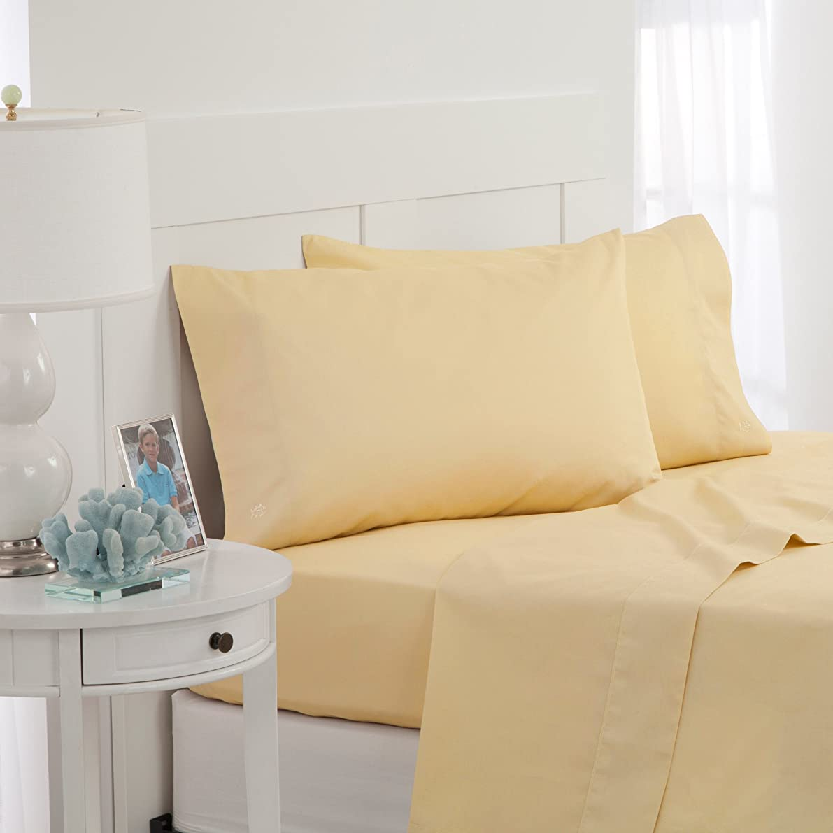 Southern Tide Skipjack Tonal Embroidered Twill Pillowcase Pair, Standard, Moonlight Yellow