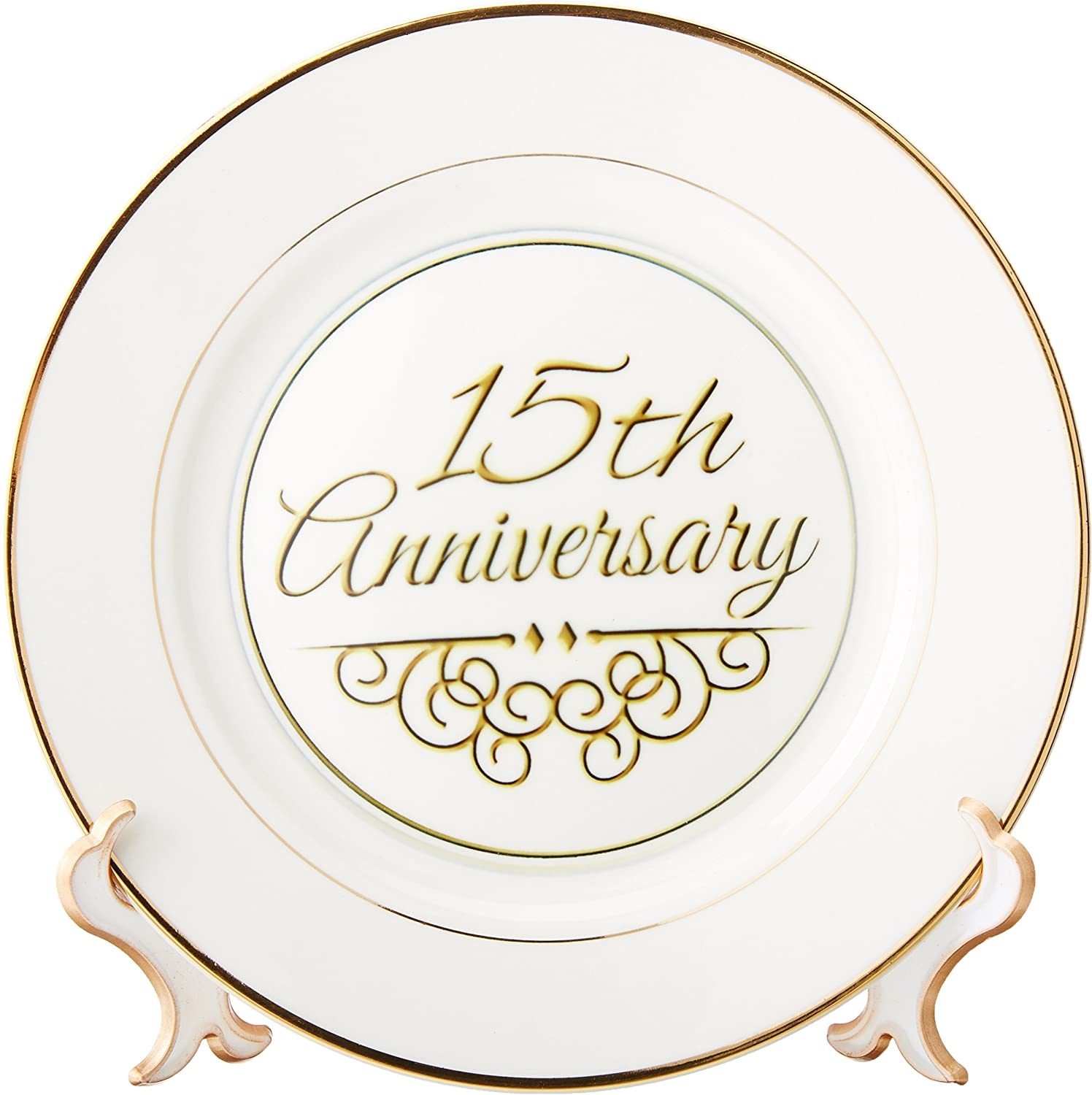 8-Inch 3dRose cp/_154477/_1 35Th Gold Text for Celebrating Wedding Anniversaries 35 Years Married Together Porcelain Plate