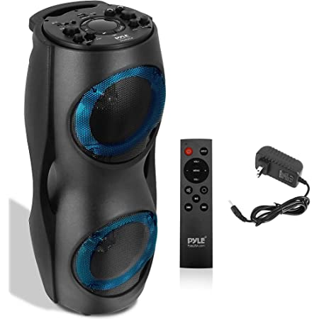 Portable Bluetooth PA Speaker System - 800W Outdoor Bluetooth Speaker Portable PA System w/TWS, Recorder, Microphone in, Party Lights, USB SD Card Reader, FM Radio, Carry Handle - Pyle PPHP62LB