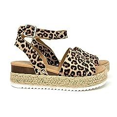 24ef3d2379c2 SODA Women s Open Toe Ankle Strap Espadrille Sandal
