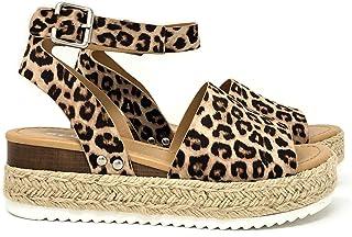 1a70ed411db1ca SODA Women s Open Toe Ankle Strap Espadrille Sandal