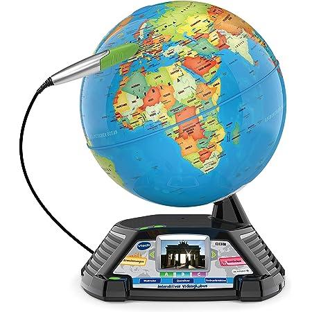 VTech Interaktiver Videoglobus – Weltkugel mit Bildschirm, akustischen und visuellen Lerninhalten (deutsche Version) – Ideal für die Einschulung – Für Kinder ab 7 Jahren