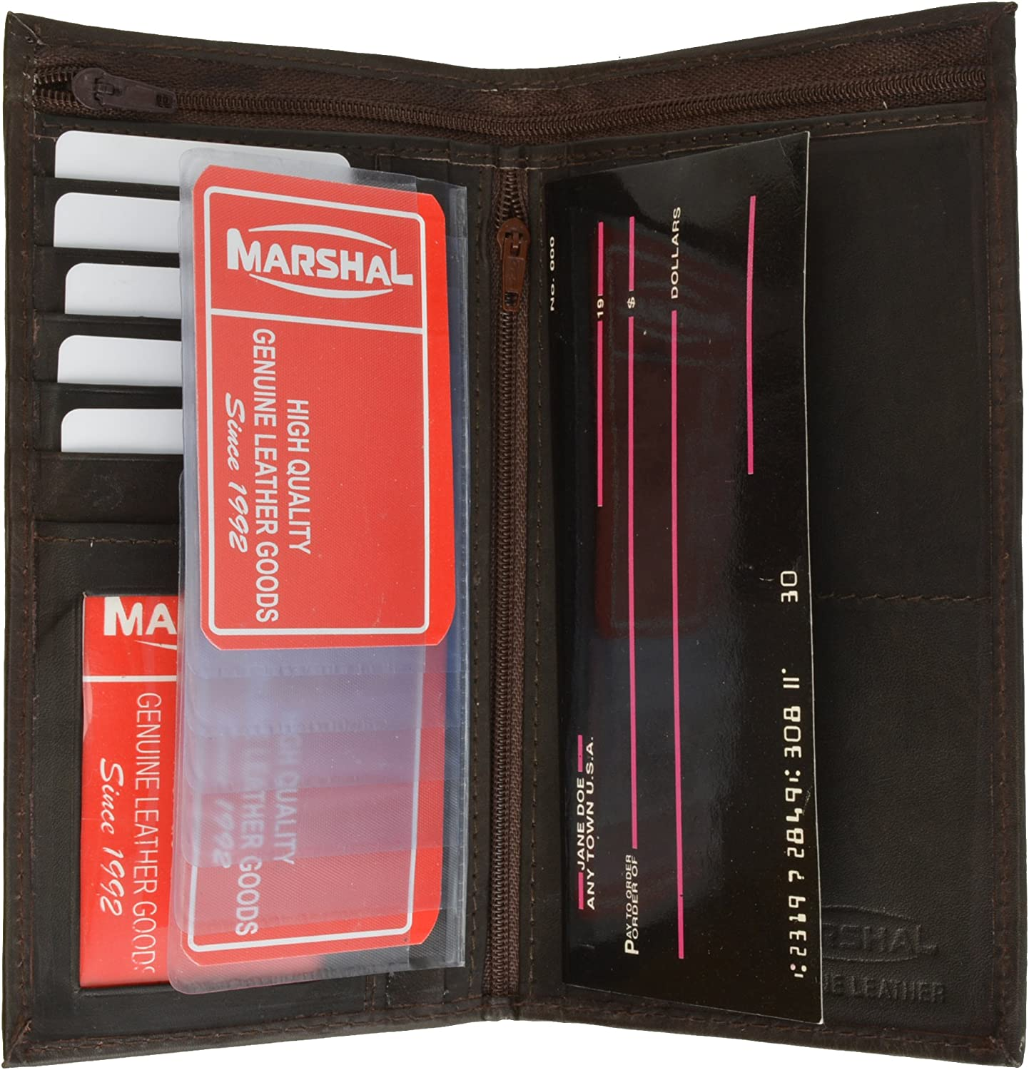 Genuine Leather Checkbook Cover Ladies Wallet Credit card Holder by Marshal