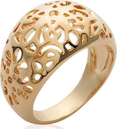 76dc9d650 So Chic Jewels - Ladies 18k Gold Plated Flowers Filigree Dome Ring