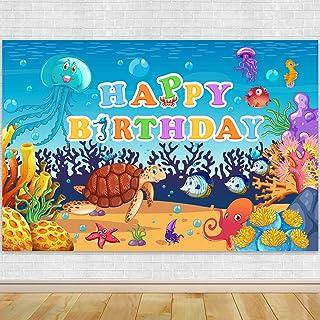 Cartoon Unterwasserwelt Geburtstag Party Fotografie Kulisse – Cartoon Unterwasserwelt Geburtstag Hintergrund Kuchen Tisch Junge Geburtstag Dekorationen