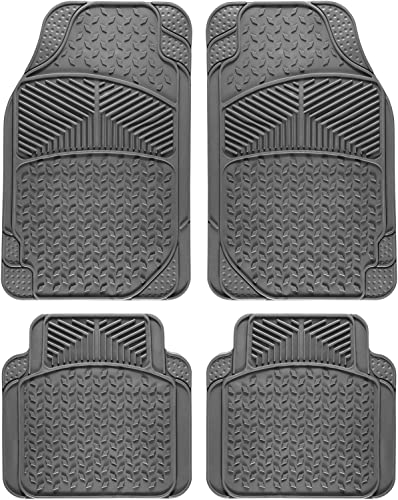 high quality OxGord Universal Fit lowest 4-Piece Full Set Eagle Heavy Duty Rubber popular Floor Mat - (Gray) online