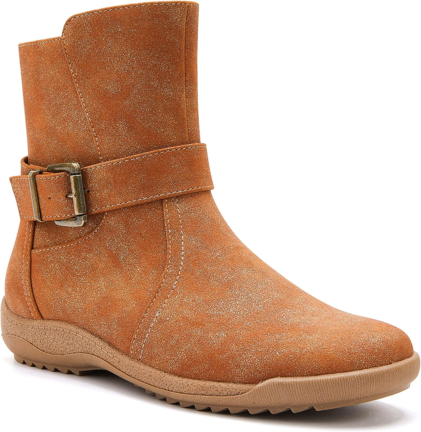 TINSTREE Women's Casual Flat Heel Side Zipper Slouch Mid Calf Booties Anti-Slip Buckle Slouchy Ankle Boots Shoes