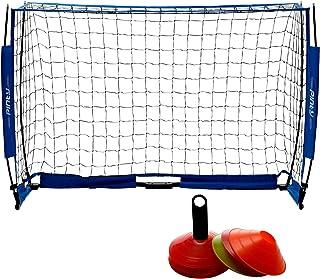 Z ZELUS Portería de Fútbol 180 X 120CM Red de Fútbol para Niños sin Nudos Meta de Fútbol con 12 Piezas Conos de Fútbol Portería de Fútbol con Red Postes de Hierro Diseño Portátil