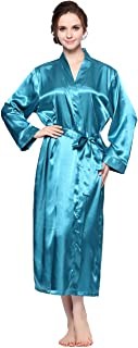Lavenderi Women's Silk Satin Lounge Bathrobe, Long Lightweight Kimono Robe