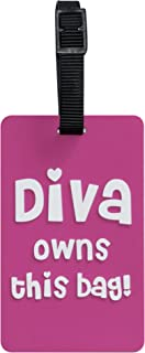 TangoTag Diva Owns This Bag Luggage Tag, Pink, HTC-TT824