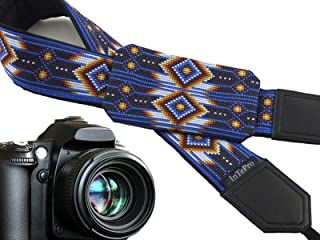 Photo Accessories. Native American Inspired Camera Strap with Pocket. Blue Camera Strap for DSLR and SLR Cameras. Code 00366