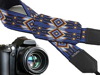 اكسسوارات الصور. حزام كاميرا مستوحى من الأمريكيين الأصليين مع جيب. حزام كاميرا أزرق لكاميرا DSLR وSLR كود 00366