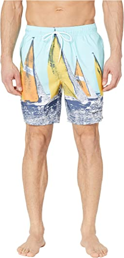 Vintage Racing Printed Swim Trunks
