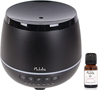 MOKSHA ELEMENTS Aromatherapy Diffuser 200ml Bluetooth Speaker+10ml ORGANIC Lavender Essential Oil,Ultrasonic Cool Mist Humidifier, Portable Waterless Auto Shut-off, Timer, Adjustable Mist mode (BLACK)