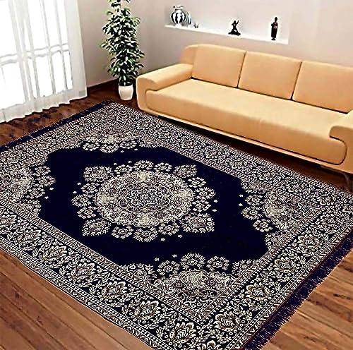 Rinki Home Furnishing 6D Superfine Velvet Touch Abstract Chenille Carpet (Blue, 3 x 5)