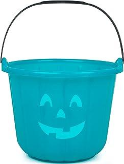 SCS Direct Teal Pumpkin Halloween Candy Treat Bucket 8.5in - Jack O Lantern Trick or Treat Storage Pail Basket