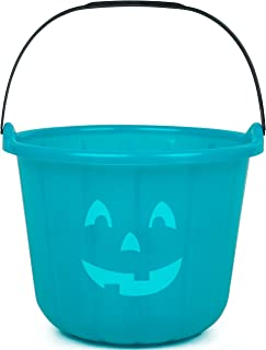 SCS Direct Teal Pumpkin Halloween Trick or Treat Bucket 8.5 in - Official Teal Pumpkin Project Allergy-Friendly Candy Accessory.