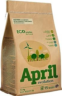 April Evolution EcoSolution Detergente en polvo CONCENTRADO BIO para ropa. Alto rendimiento en agua fría, Sin perfume, HE,...