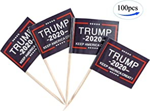 JBCD Donald Trump 2020 Flags 100 Pcs Cupcake Toppers Flag Keep America Great Toothpick Flag Small Mini Stick flags Picks Party Decoration Celebration Cocktail Food Bar Cake Flags