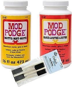 Complete Decoupage Kit - Two 16oz Bottles of Mod Podge Waterbase Sealer/Glue/Finish (Matte Finish + Gloss Finish) with 4-pk Foam Brush Set