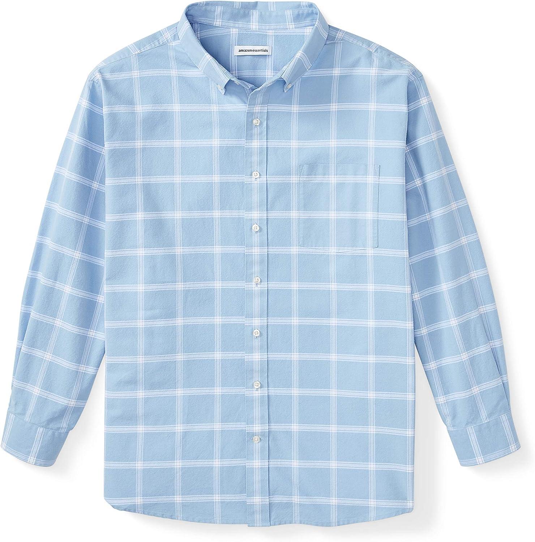 Amazon Essentials Men's Big & Tall Long-Sleeve Windowpane Pocket Shirt fit by DXL