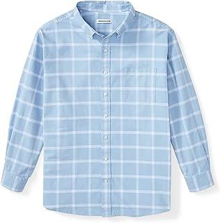 Amazon Essentials Men's Big & Tall Long-Sleeve Windowpane Pocket Shirt fit by DXL, Blue, 6XL