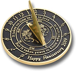 The Metal Foundry 'Love is' Wedding Anniversary 2019 Gift. This Unique Sundial Gift Idea is A Great Present for Him, for Her Or for A Couple to Celebrate Years of Marriage