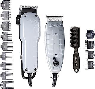 Andis Barber Combo-Powerful تیغه گیره با سرعت بالا و T-Outliner T-trimmer با دندان های زیبا برای اصلاح خشک، ترسیم و محو شدن با Brush Blade BeauWis شامل