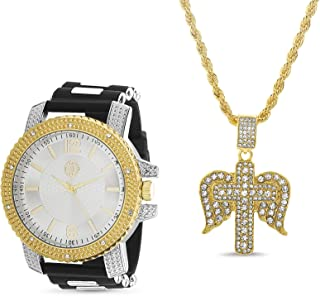 Akademiks Watch with Rhinestone Eagle Cross Pendant Necklace Jewelry Set for Men (Various Colors)