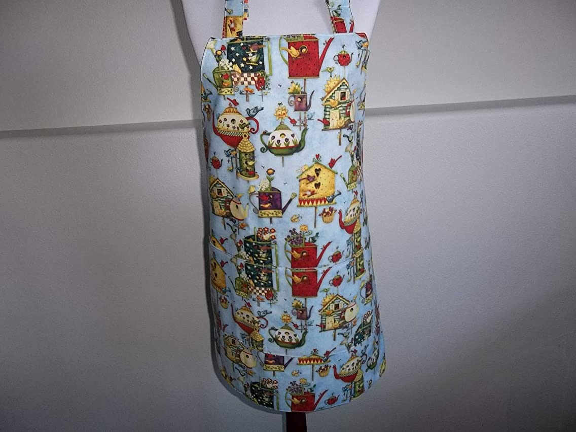 Womens Full Apron Birdhouses Handmade with Pockets Reversible Adjustable Length Cleaning Cooking Kitchen Apron