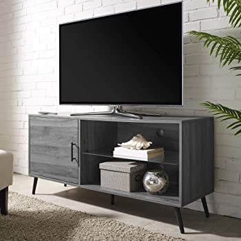 """Walker Edison Mid Century Modern Wood Universal Stand for TV's up to 58"""" Flat Screen Cabinet Door and Shelves Living Room Storage Entertainment Center, 52 Inch, Grey"""