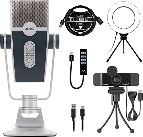 """AKG Pro Audio Lyra Ultra-HD, Four Capsule, Multi-Capture Mode USB Condenser Microphone Bundle with Blucoil 1080p USB Webcam, 6"""" Dimmable Selfie Ring Light, USB-A Mini Hub, and 3' USB Extension Cable"""