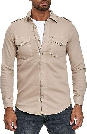 Camisa con Cremallera de Hombre Jeans Look Chaqueta de Manga ...