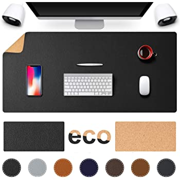"""TESOBI Large Natural Cork & Leather Desk Pad, 36"""" x 17"""" Double-Sided Desk Protector, Smooth Surface Mouse Pad, Waterproof Desk Mat for Office/Home/Gaming (36"""" x 17"""" Black)"""