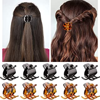 Hair Claw Clips Medium Size Hair Claws 1.3 Inch Hair Jaw Clip Claw Clip Grip for Women Girls Medium or Thick Hair (10 Pieces, Brown and Black)