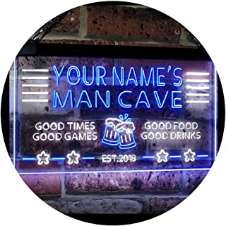 Personalized Name Custom Man Cave Home Bar Est. Year Dual Color LED Neon Sign White & Blue 400 x 300 mm st6s43-x0012a-tm-wb