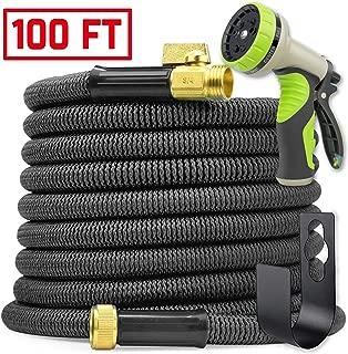 Hogue WS LLC - Heavy-Duty Flexible Leak-Proof Garden Hose - Includes 9-Mode High-Pressure Nozzle, Storage Pocket & Hanger - 100ft Expandable - Black