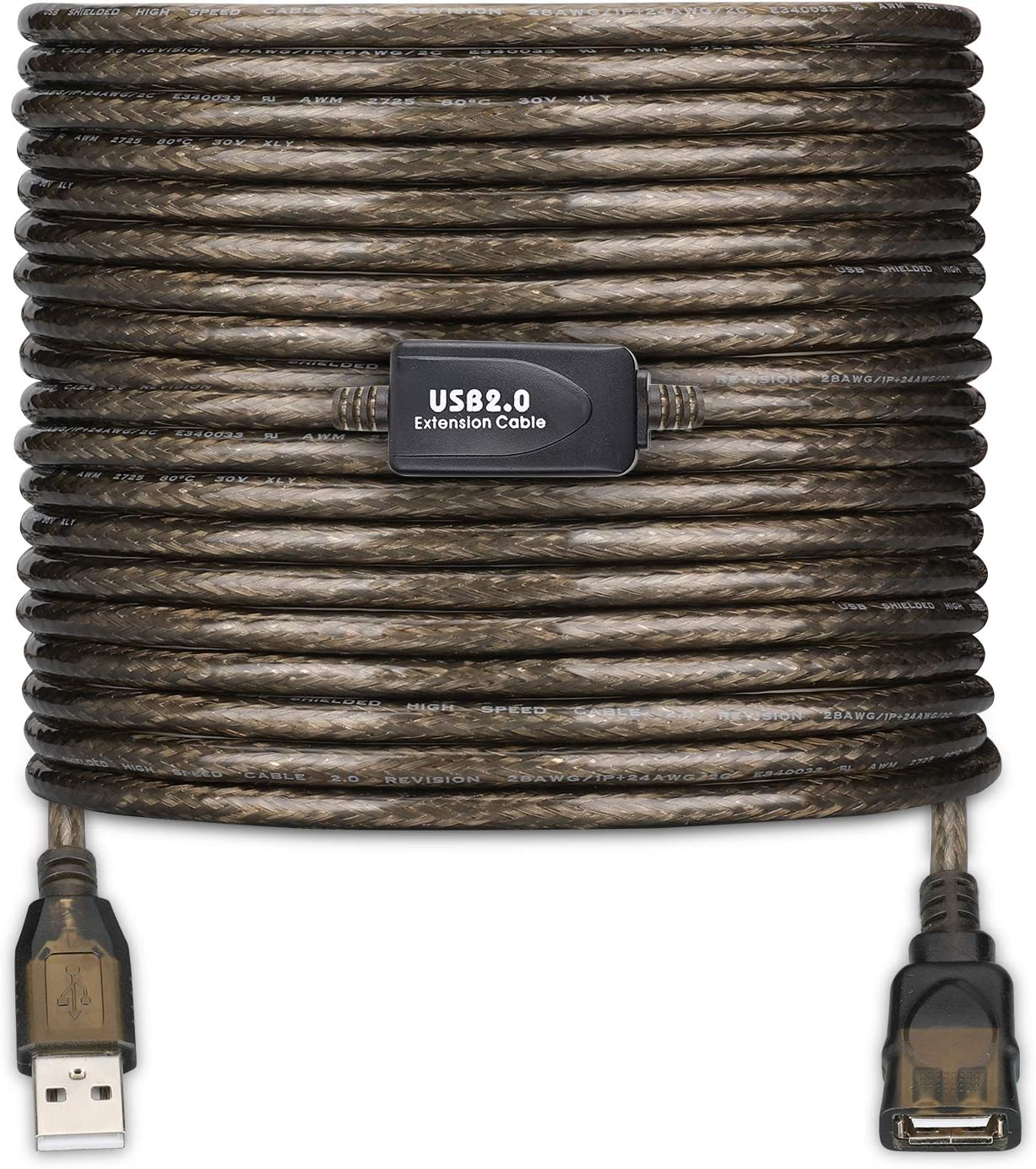 LDKCOK USB 2.0 Type A Male to A Female Active Repeater Extension Cable 50ft, High Speed 480 Mbps