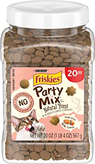 Purina Friskies Made in USA Facilities, Natural Cat Treats, Party Mix Natural Yums With Real Salmon - 20 oz. Canister