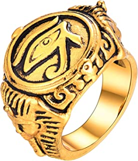 U7 18K Gold Plated Antique Black Enamel Egyptian Jewelry Cool Eye of Horus Signer Ring, Men Thumb Ring -Size 12