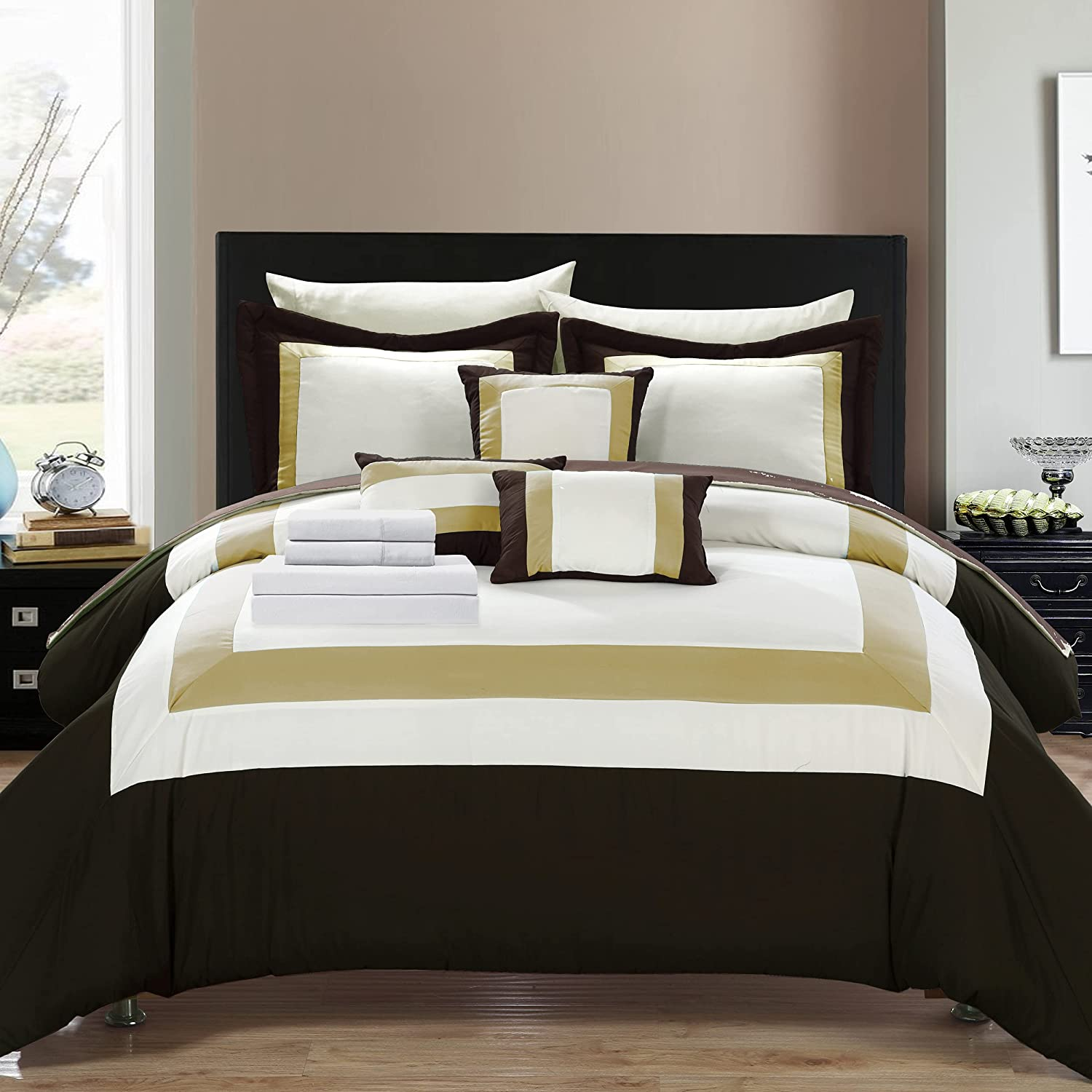 Chic Home Inexpensive Duke 10 Comforter New Free Shipping Complete Color Block Pieced Patt Bag