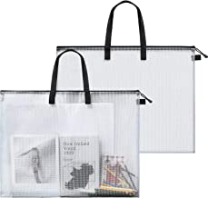2 Pieces Art Portfolio Bag Poster Storage Bag Board Holder with Handle and Zipper 19 x 25 Inch Organizer Transparent Bag f...