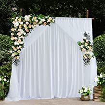 Leegleri White Tulle Backdrop Curtains for Party Baby Shower 5 ft X 7 ft Photo Drape Backdrop for Wedding Birthday (Pack of 2)