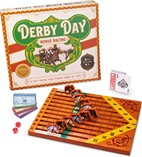 Derby Day | Horse Racing Board Game | Family and Adult Game Great for Parties and Low-Stakes Gambling | Includes Game Board, Deck of Cards, Pair of Dice, and Paper Currency of Various Denominations