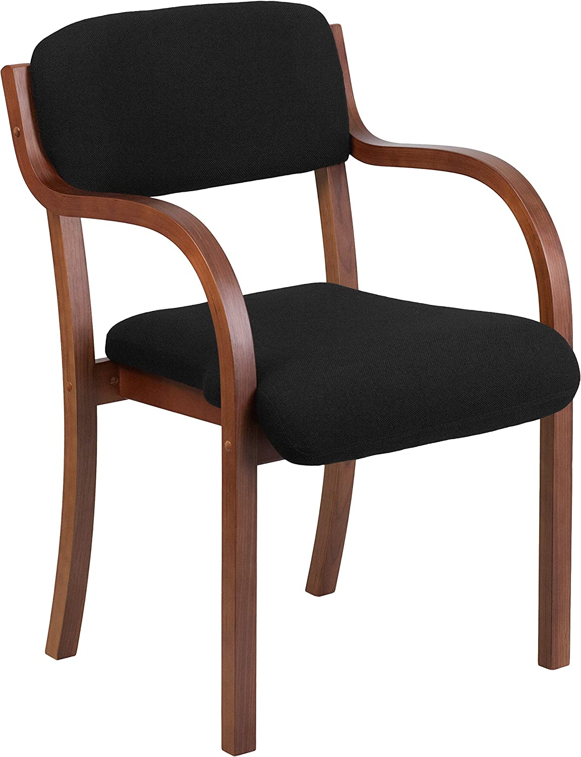 Flash Furniture Contemporary Black Fabric Wood Side Chair with Walnut Frame