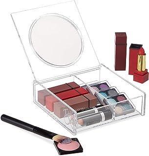 Relaxdays 10026562_50 Organiseur, Miroir, rouge à lèvres, Maquillage, 2 compartiments, Support acrylique, transparent, ver...