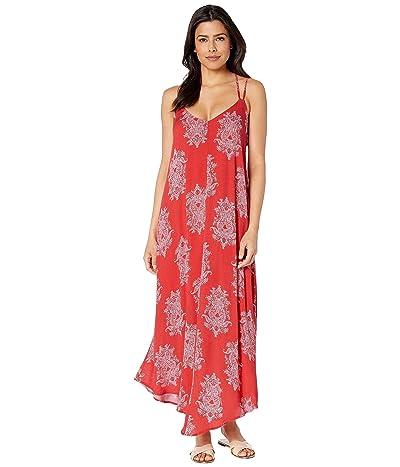 American Rose Aubrey V-Neck Dress (Red Orange) Women