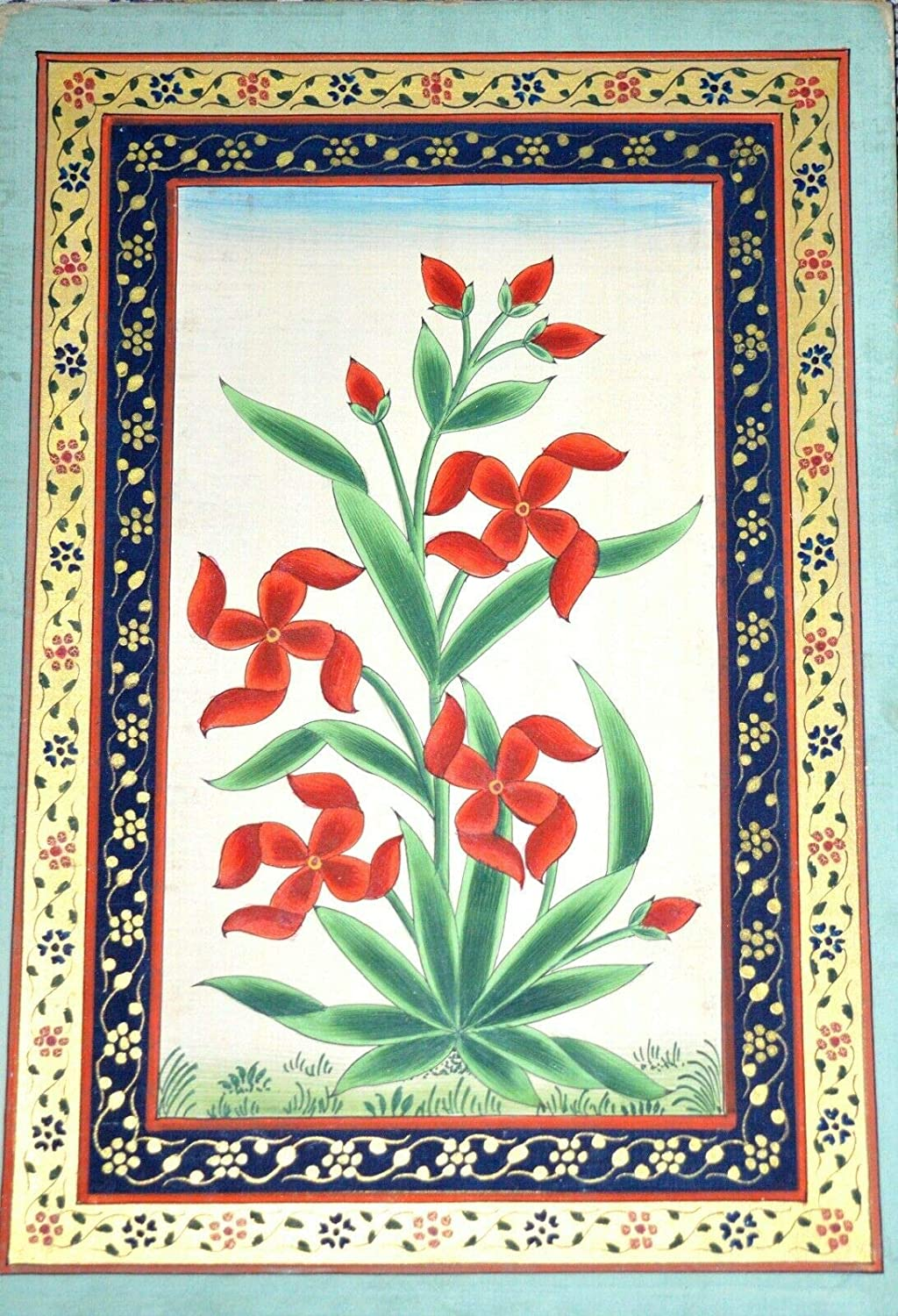 Red Jasmine Flower Handmade Miniature With Albuquerque Mall Painting Gold Philadelphia Mall Color F