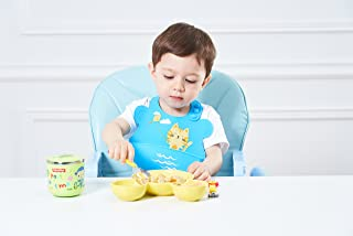 Baby Silicone Bibs - UNCLE WU Waterproof Bibs,Easy Catch Food ,Easy Clean,Easy Roll Up Travel,Comfortable Soft Bibs(Blue with a Kitty)