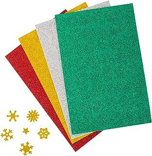 LIHAO 6 Hojas Pegatinas de Espuma Adhesivas Pegatinas Copo de Nieve con Purpurina Cartulinas Brillantes 4 Colores Navidad Decoración